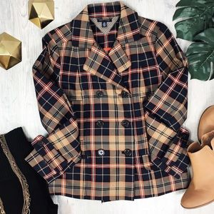 Tommy Hilfiger Double Breasted Plaid Navy Coat
